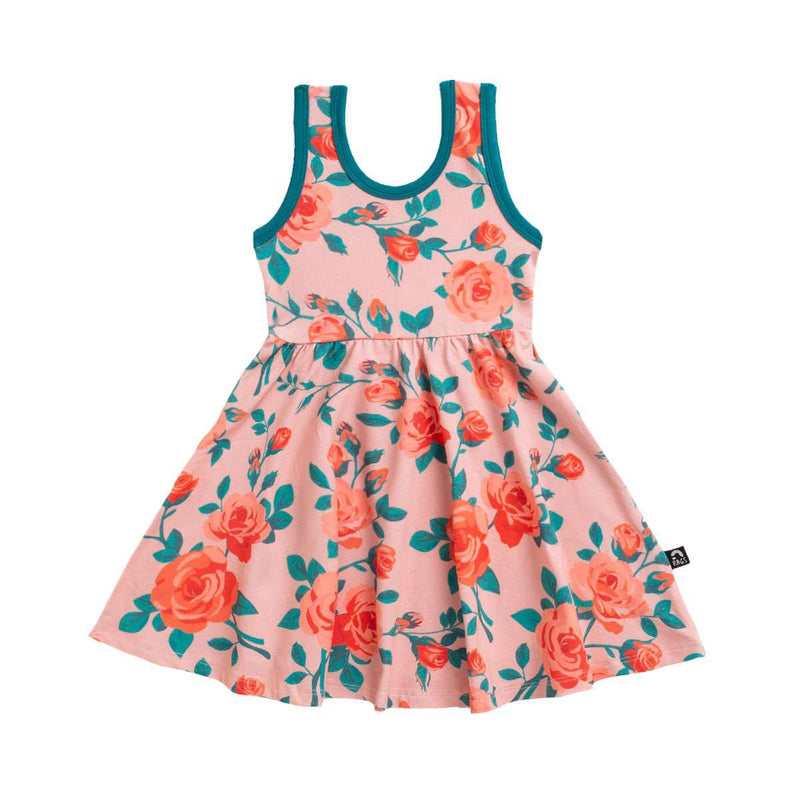 Tank Swing Dress - 'Rose Floral' - Dusty Pink