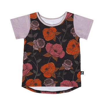 Kids OG Style Tee - 'Winter Poppy Floral' - Purple Dove