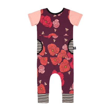 Short Sleeve Peek Pocket Rag - 'Poppy Bumblebee Floral' - Maroon