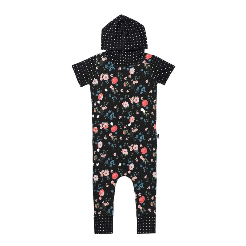Short Sleeve Hooded Rag - 'Black Floral'