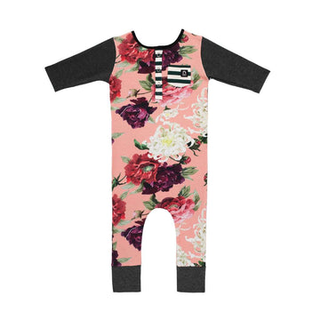 3/4 Sleeve Henley Pocket Rag - 'Pinktober Floral' - Breast Cancer Awareness
