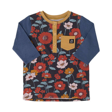 3/4 Sleeve Henley Kids Tee - 'Fall Poppy Floral' - Dark Blue