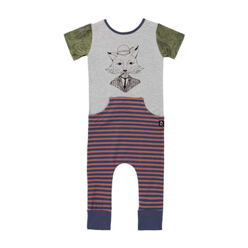 Short Sleeve Faux Pocket Rag - 'Sir Fox' - Heather Grey