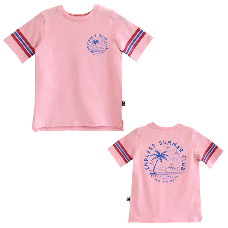 Retro Sleeve Kids Tee - 'Endless Summer Club' - Candy Pink