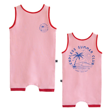 Tank Short Rag Romper - 'Endless Summer Club' - Candy Pink