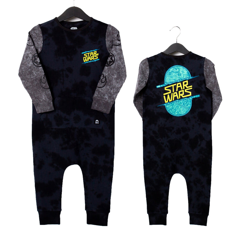 Long Sleeve Kangaroo Pocket Rag Romper - 'Lightsabers' - Star Wars Collection from RAGS