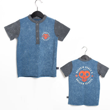 PREORDER Short Sleeve Henley Rounded Kids Tee - 'Breakin Bones' - Washed Stellar
