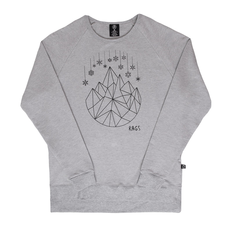 Unisex Adult Crewneck Sweatshirt - 'Geosnowflake' - Heather Grey