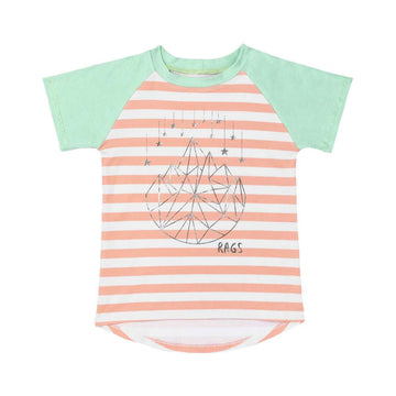 Kid's Raglan Drop Back Tee Shirt - 'Geostar' - Pink Stripe