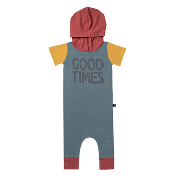 Short Sleeve Hooded Rag Romper - 'Good Times' - Goblin Blue