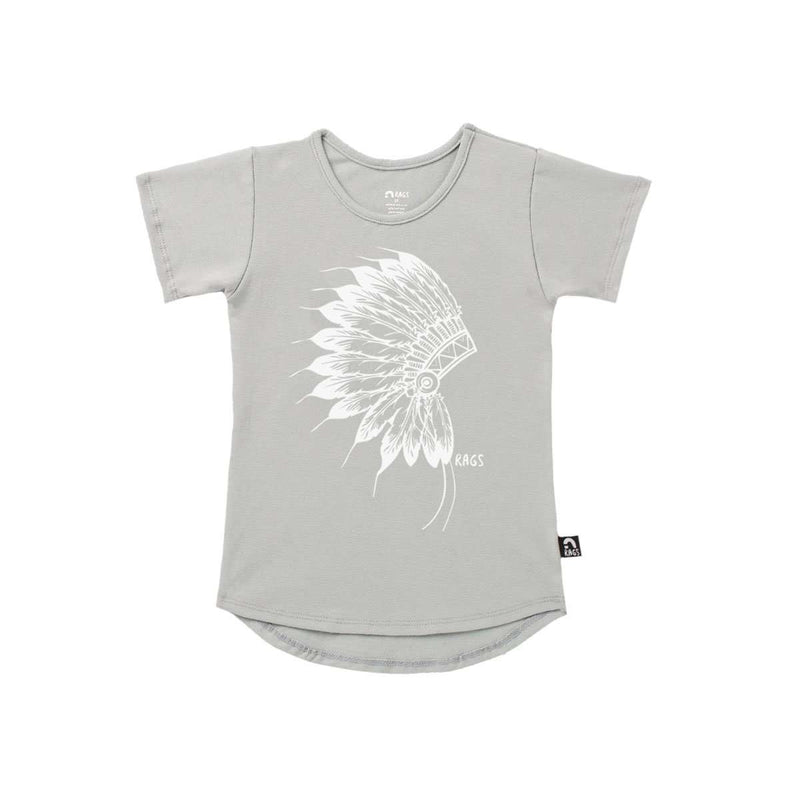 Kids Drop Back Tee Shirt  - 'Native' - Wrought Iron