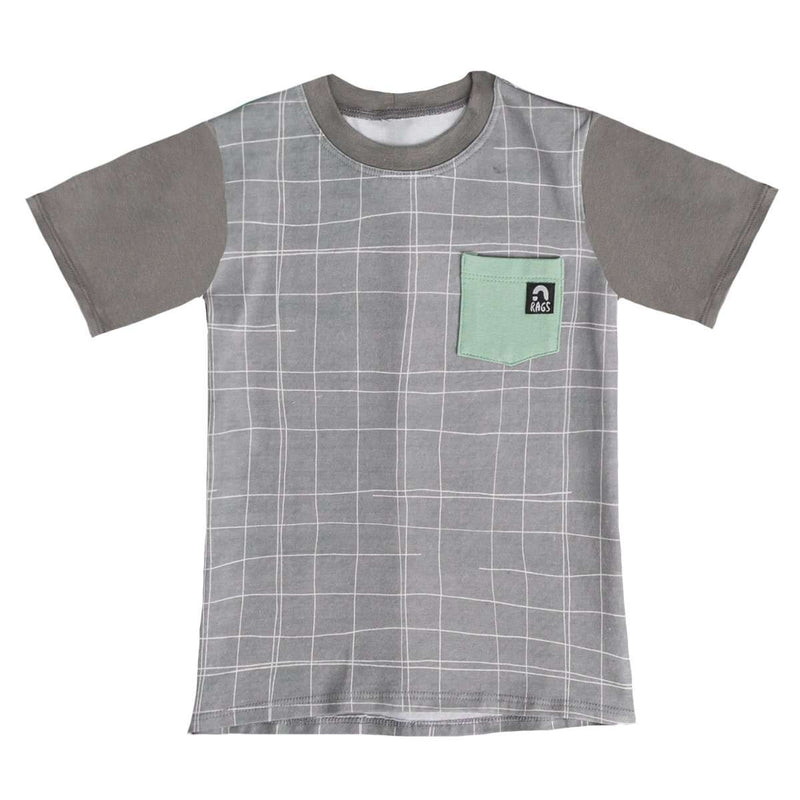 Short Sleeve Chest Pocket Tee - 'Sketchy Grid' - Griffin