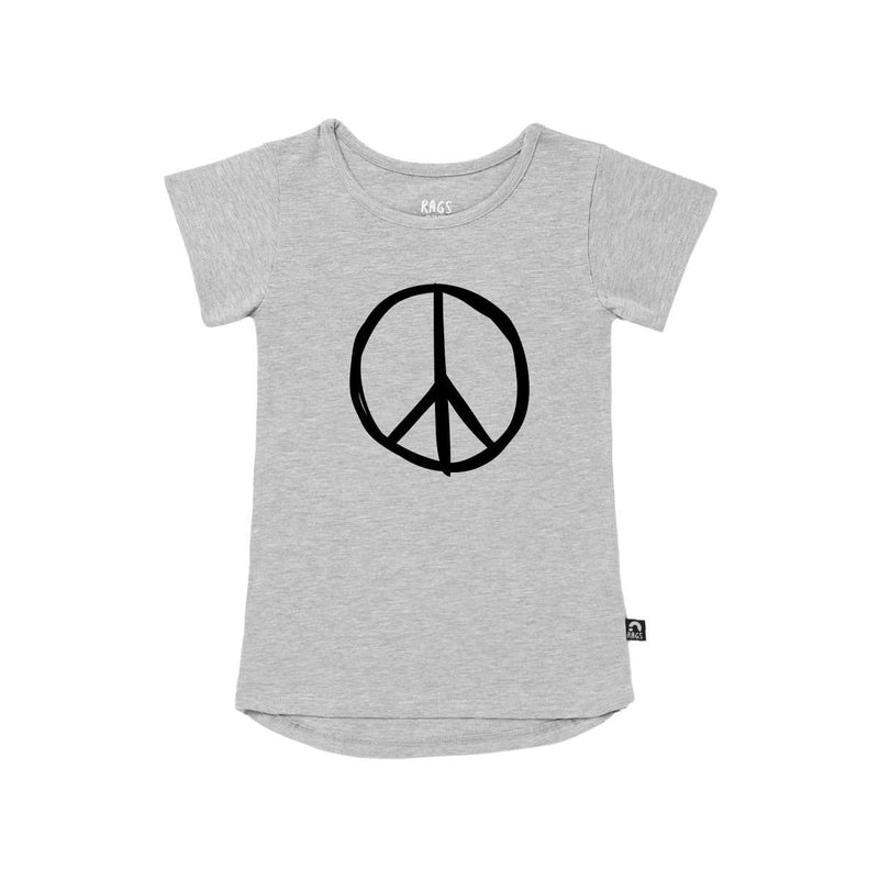 Kids Drop Back Tee Shirt  - 'Peace' - Heather Grey