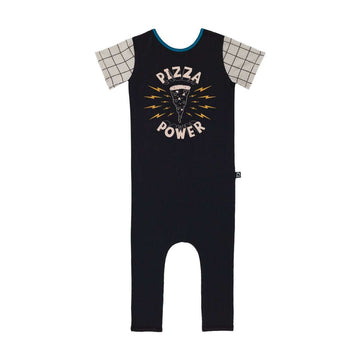 Short Sleeve Rag - 'Pizza Power' - Shale