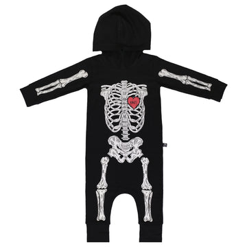 Long Sleeve Hooded Rag - 'Full Body Skelly' - Black