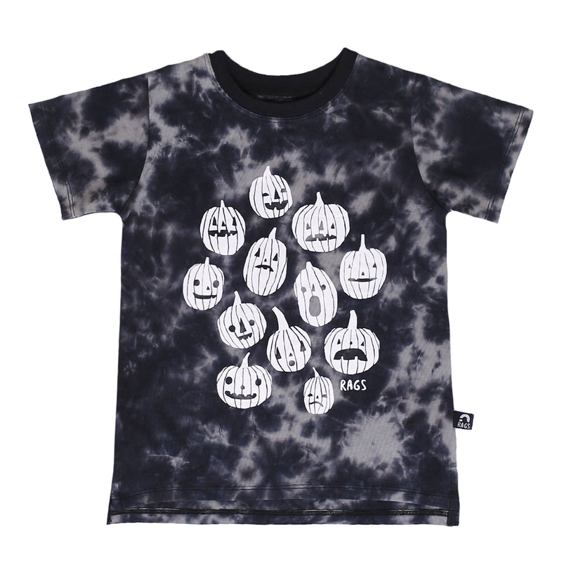 Short Sleeve Tee - 'Pumpkins' - Black Griffin Tie Dye