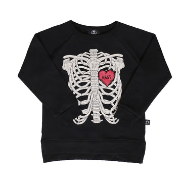 Kids Crewneck Sweatshirt - 'Skelly' - Black
