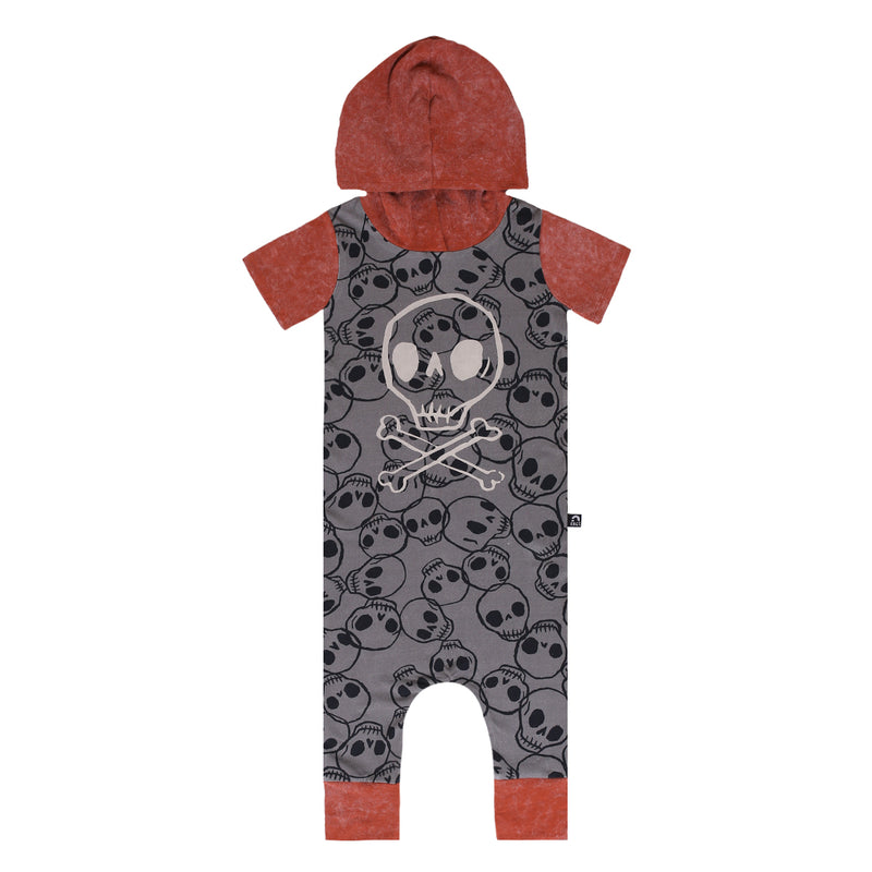 Short Sleeve Hooded Rag - 'Skull & Crossbones' - Black Skulls