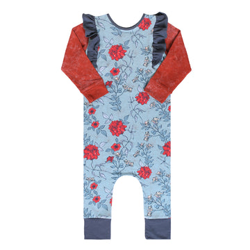 Long Sleeve Ruffle Rag - 'Spider Web Floral' - Red