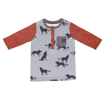 3/4 Sleeve Henley Kids Tee - 'Howling Wolves' - Gray
