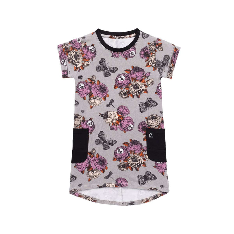 Tee Drop Back Dress  - 'Skull Floral' - Halloween