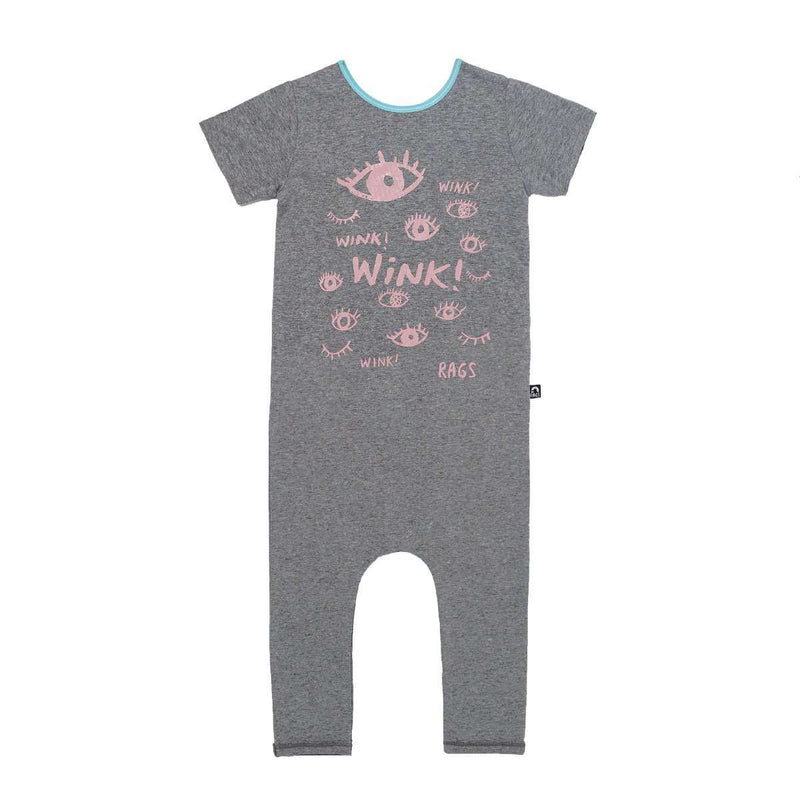 Short Sleeve Cuffless Rag - 'Wink!' - Charcoal