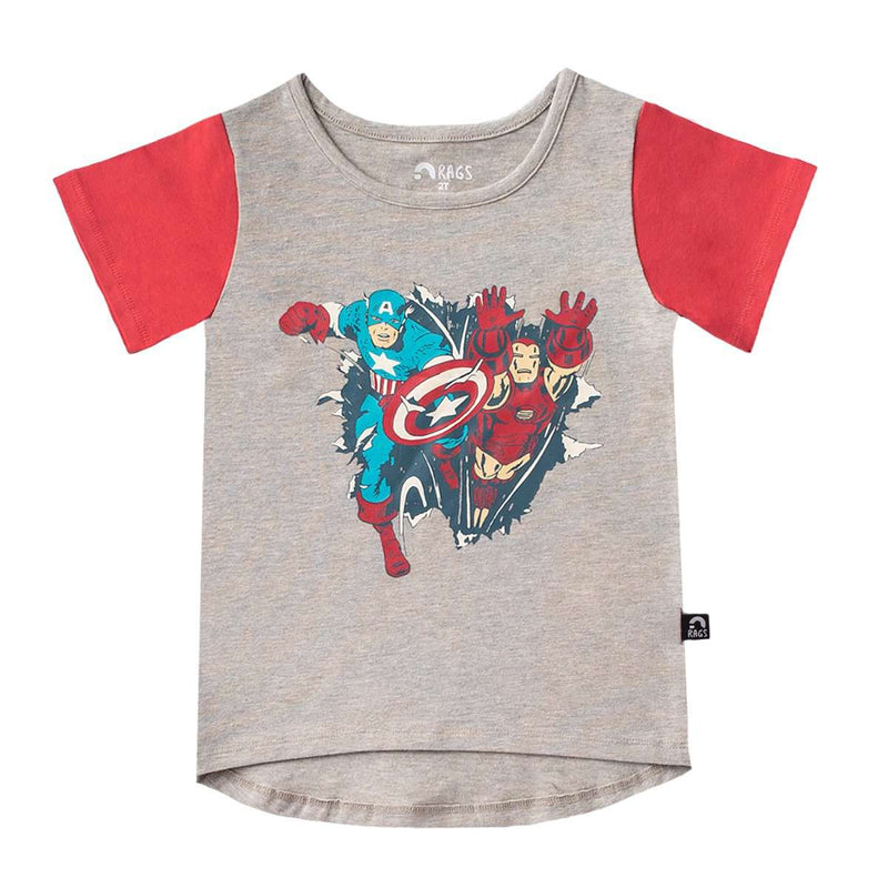Kids OG Style Tee - 'Captain America & Iron Man' - Marvel Collection from Rags