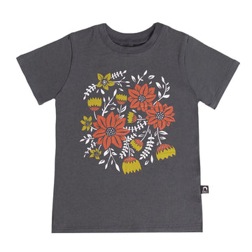 Short Sleeve Kids Tee - 'Classic Floral' - India Ink