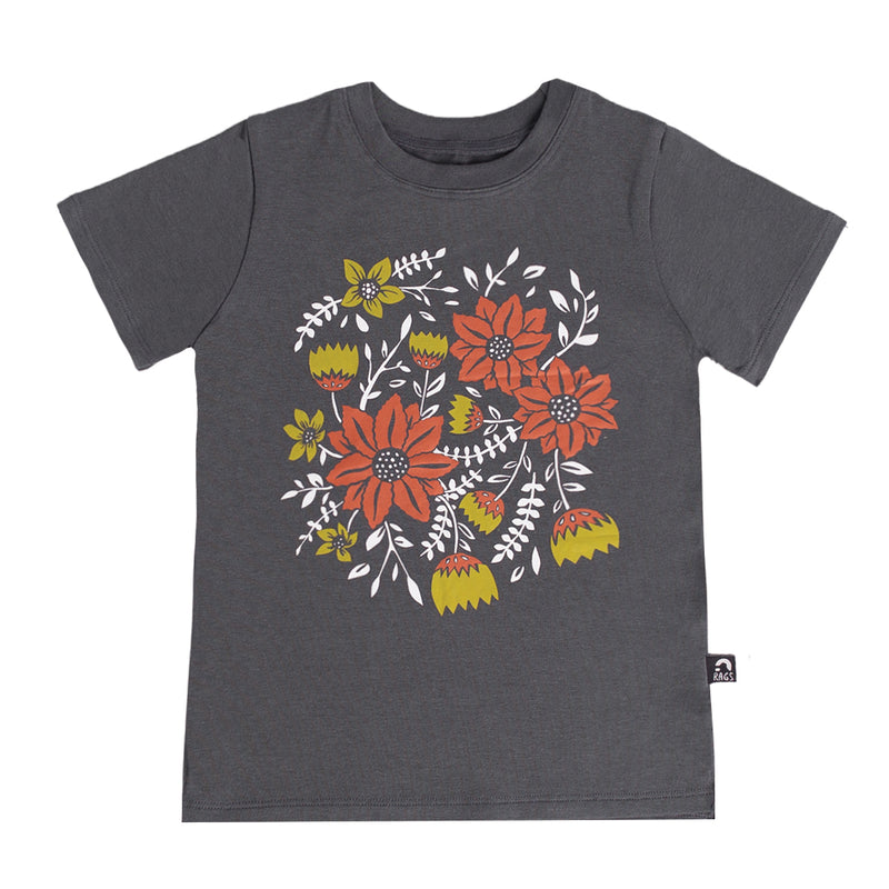 Short Sleeve Tee - 'Classic Floral' - India Ink