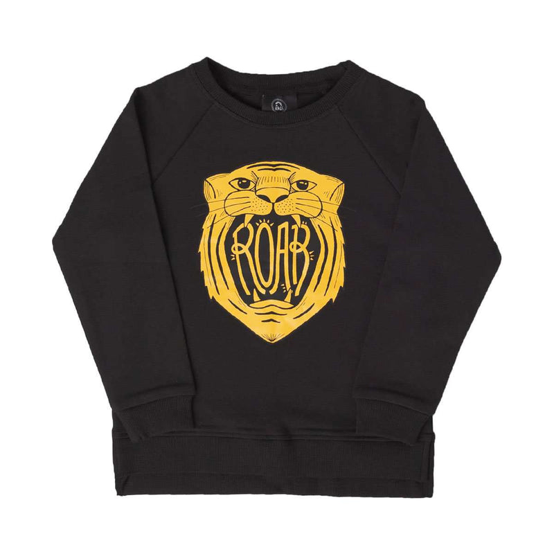 Kids Crewneck Sweatshirt - 'Roar' - Black