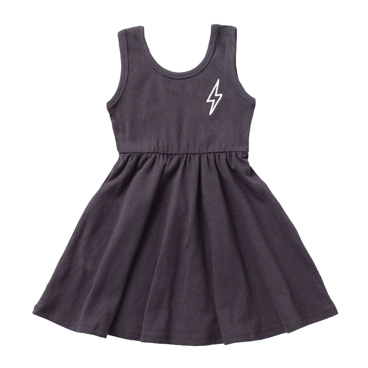 Image of Tank Swing Dress - 'Lightning' - Asphalt