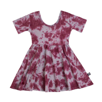 Short Sleeve Swing Dress - 'Tie Dye' - Mahogany