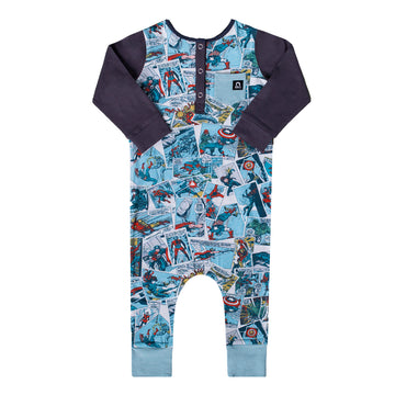 Long Sleeve Henley Rag Romper - 'Avengers Comic' - Marvel Collection from RAGS