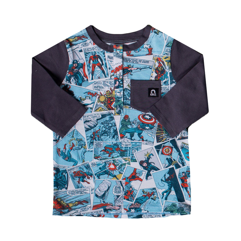 3/4 Sleeve Henley Tee - 'Avengers Comic' - Marvel Collection from RAGS