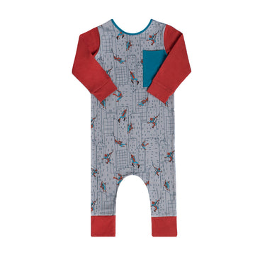 Long Sleeve Big Pocket Rag Romper - 'Spidey Cityscape' - Marvel Collection from RAGS