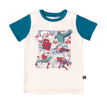 Short Sleeve Tee - 'Avengers Comic Square' - Marvel Collection from RAGS