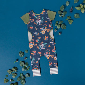 Short Sleeve Peek Pocket Rag - 'Indigo Floral' - Oil Green