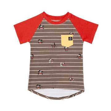 Kid's Raglan Drop Back Pocket Tee Shirt - '1920's Mickey Mouse Stripe' - Disney Collection from RAGS