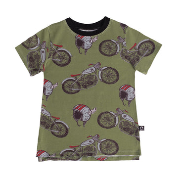 Short Sleeve Tee - 'Motorcycle Helmets' - Oil Green