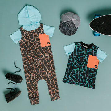 Short Sleeve Hooded Big Pocket Rag Romper - 'Skateboard Jungle' - George Hats Collab