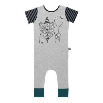 Short Sleeve Rag - 'Party Bear' - Heather Grey