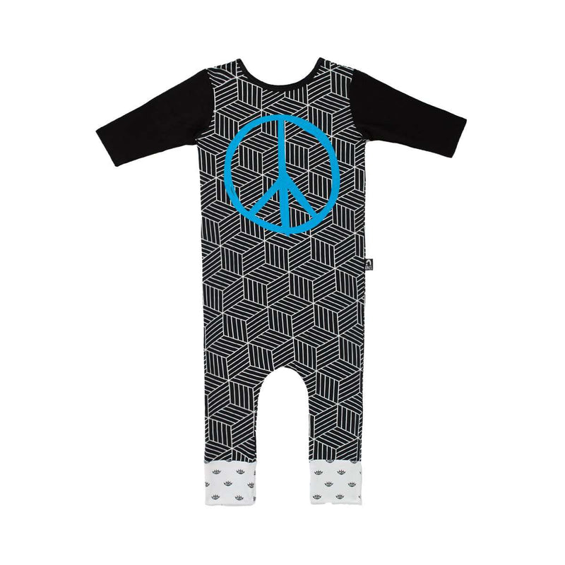 3/4 Length Sleeve Rag - 'Peace' - Black Hexagons