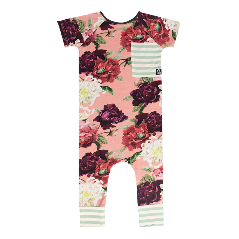 Short Raglan Sleeve Big Pocket Rag - 'Pink Peony Floral' - Mint Stripe