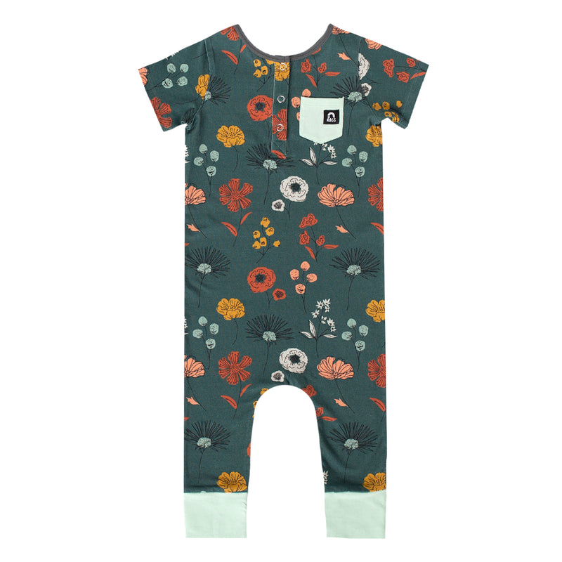 Short Sleeve Henley Rag Romper - 'Sketchbook Floral' - North Atlantic