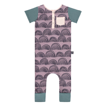 Short Sleeve Henley Rag Romper - 'Rainbows' - Purple Dove