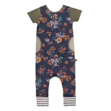 Short Sleeve Peek Pocket Rag Romper - 'Indigo Floral' - Oil Green