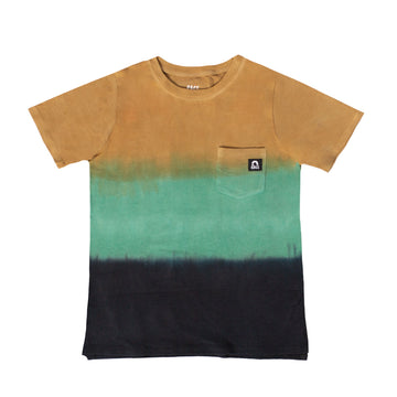 Short Sleeve Chest Pocket Tee - 'Dip Dye' - Bistre & Silver Pine