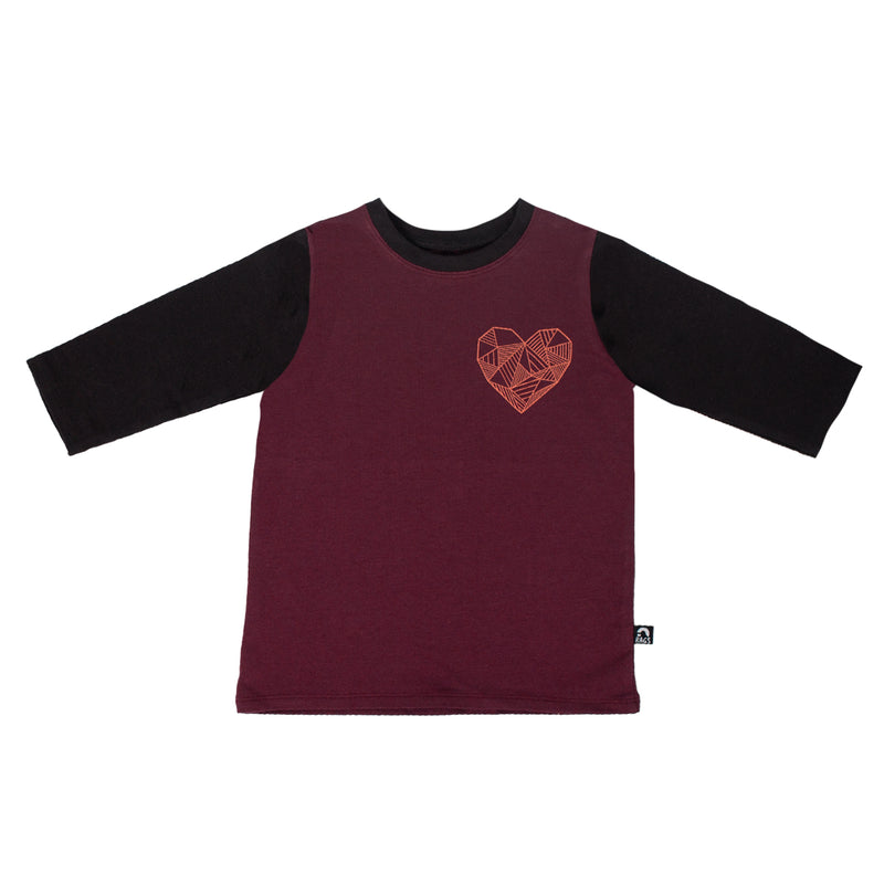 3/4 Sleeve Rounded Tee - '$21 at Checkout' - 'Geoheart' - Wine Red