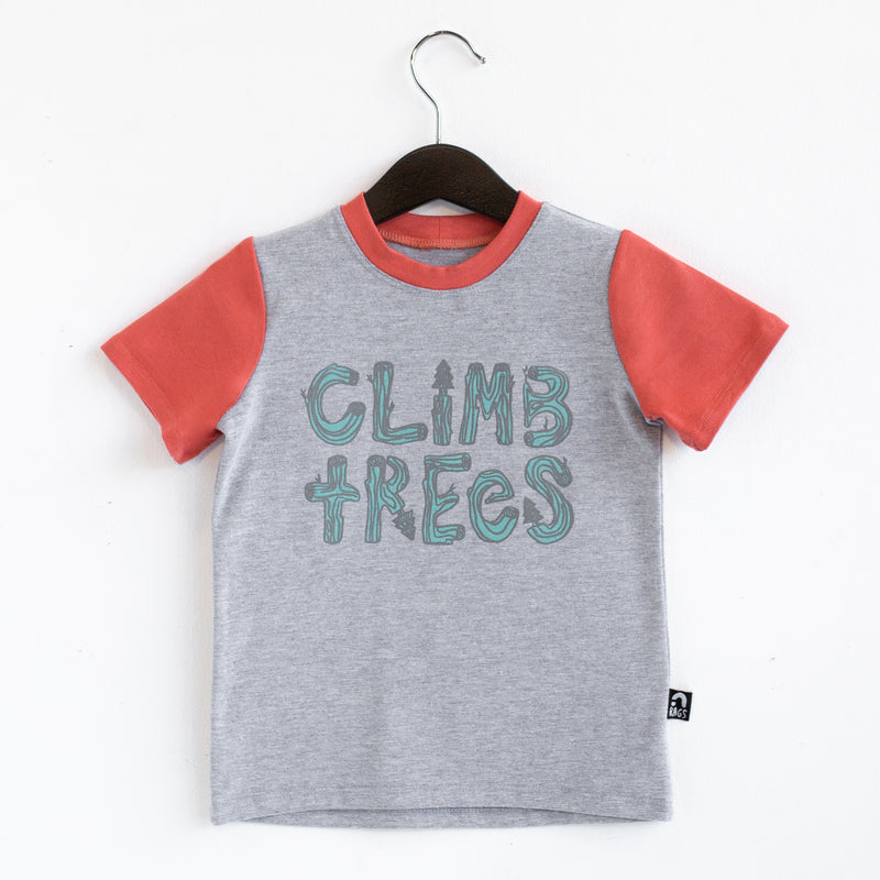 Short Sleeve Rounded Kids Tee - 'Climb Trees' - Heather Grey