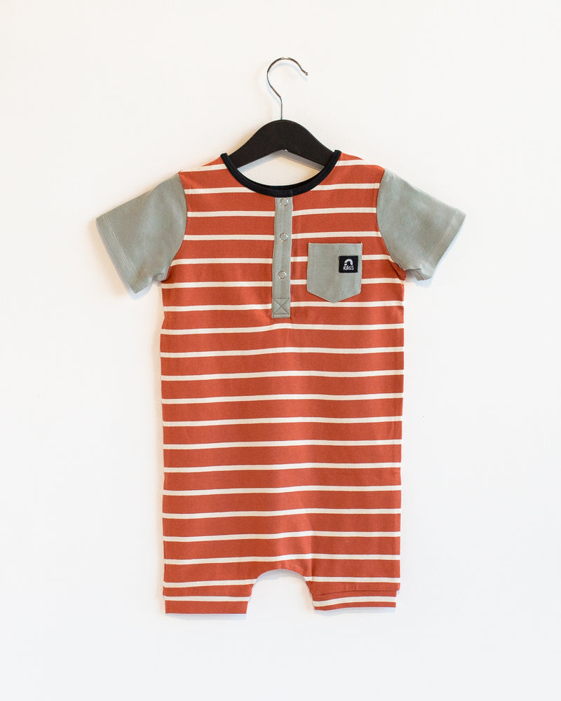 Short Sleeve Henley Short Rag Romper - 'Ginger Spice Stripe' - Wrought Iron